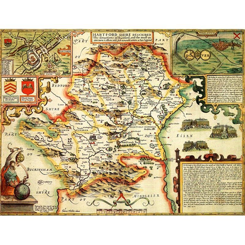 English In Italian: HISTORICAL MAP HERTFORDSHIRE 1000 PIECE JIGSAW
