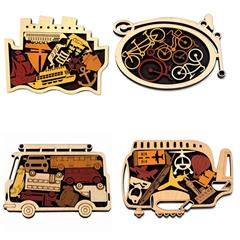 SET OF FOUR TRANSPORT PUZZLES